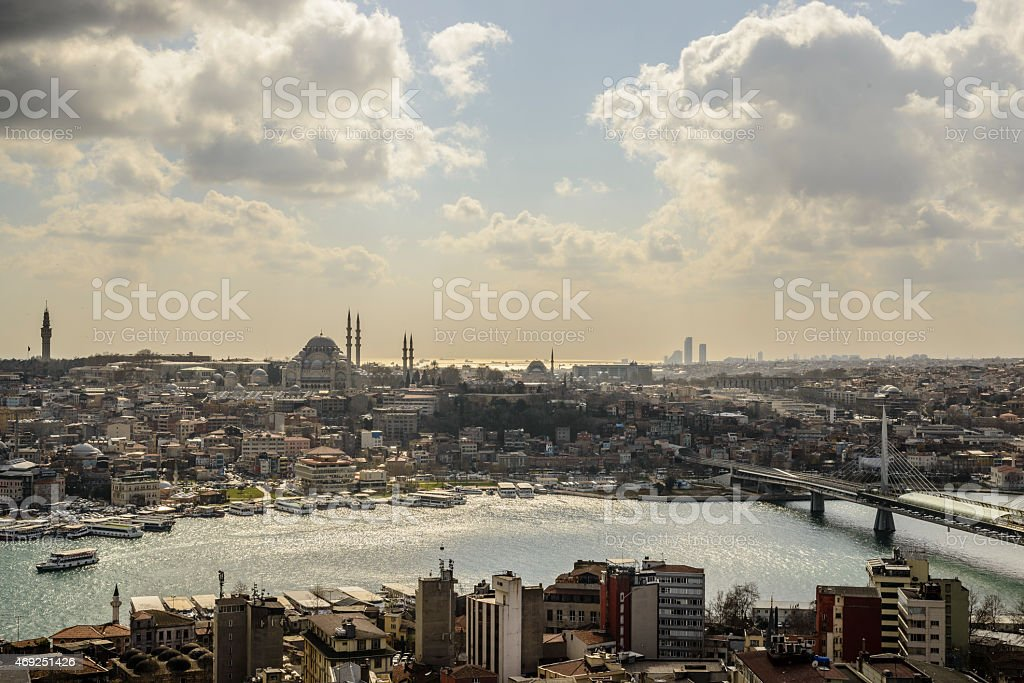 Golden Horn in Istanbul with Fatih Mosque in the background stock photo