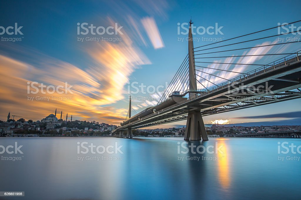 Golden Horn Metro Bridge Istanbul stock photo