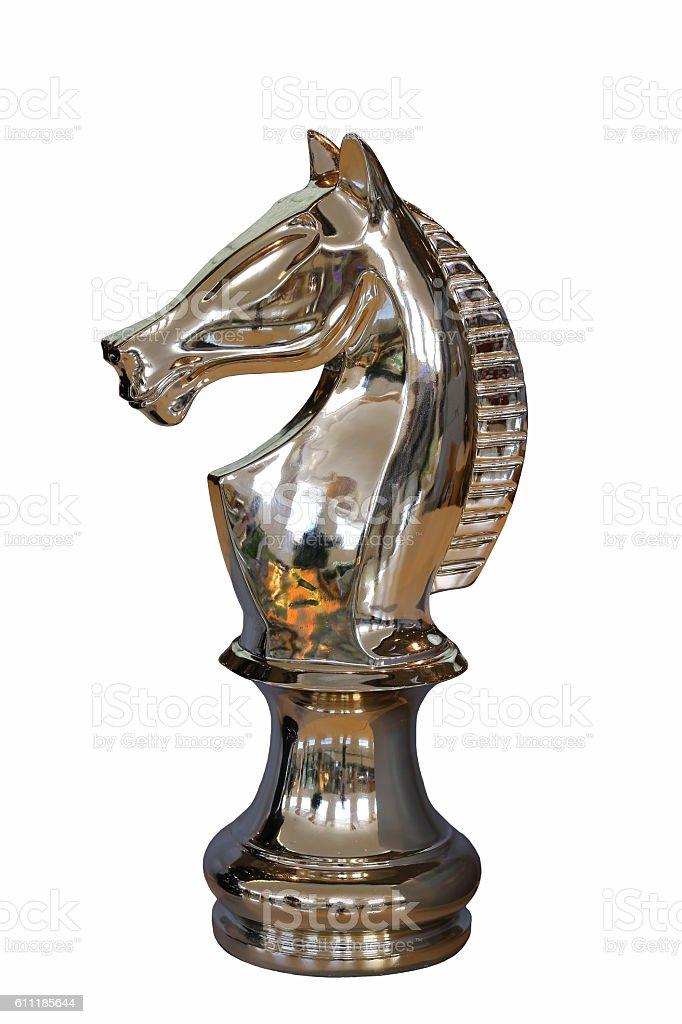 Golden horse chess isolated on white background stock photo