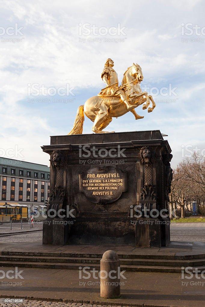 Golden Horseman. Dresden. Germany. stock photo