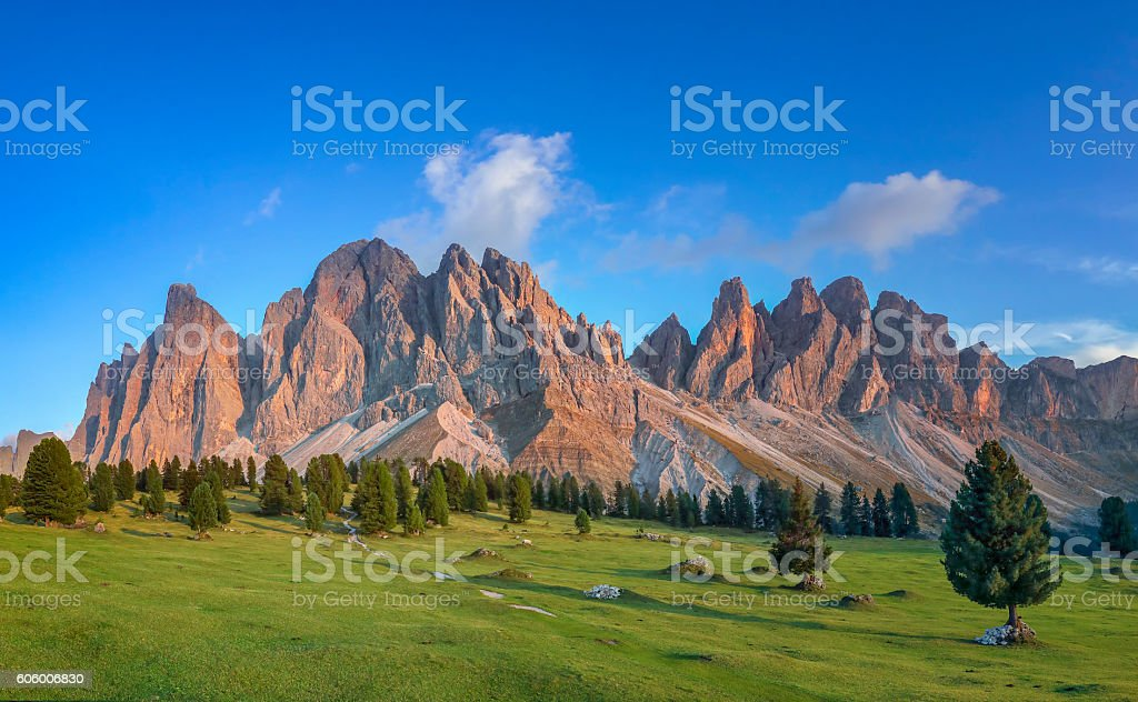 Golden hour at Geisler Group in Southtirol, Alps stock photo