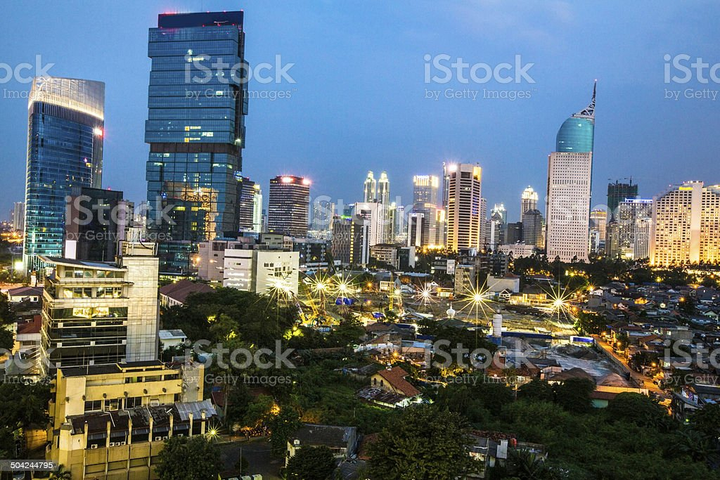Golden hour in downtown Jakarta stock photo
