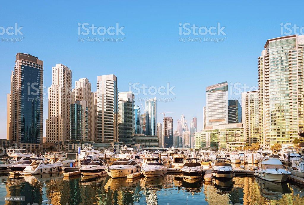 Golden Hour in Dubai Marina stock photo