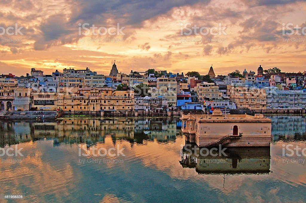 Golden Hour in Lake Pichola - Udaipur stock photo