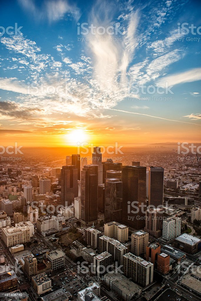 Golden hour in Los Angeles stock photo