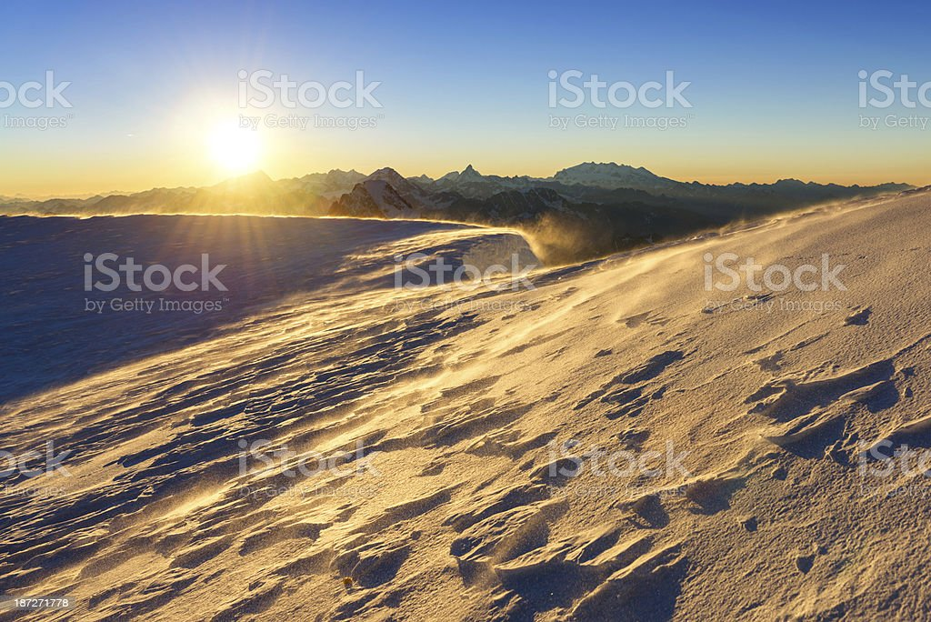 Golden Hour In Mont Blanc stock photo