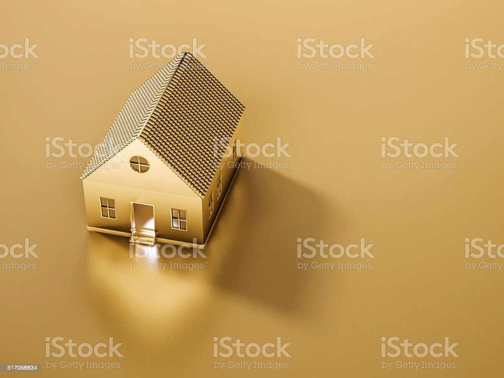 Golden house and land with copy space, 3d rendered stock photo