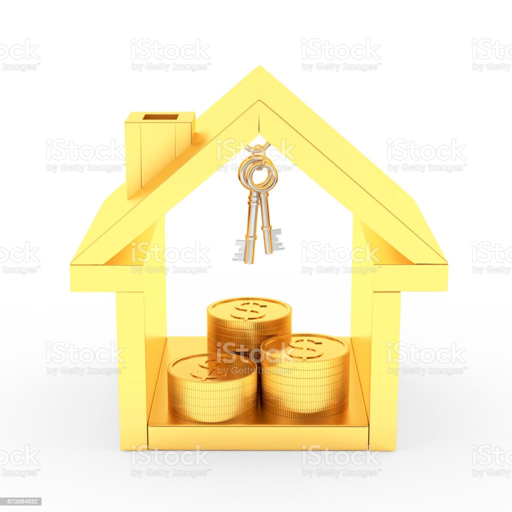 Golden house icon with keys and coins stock photo