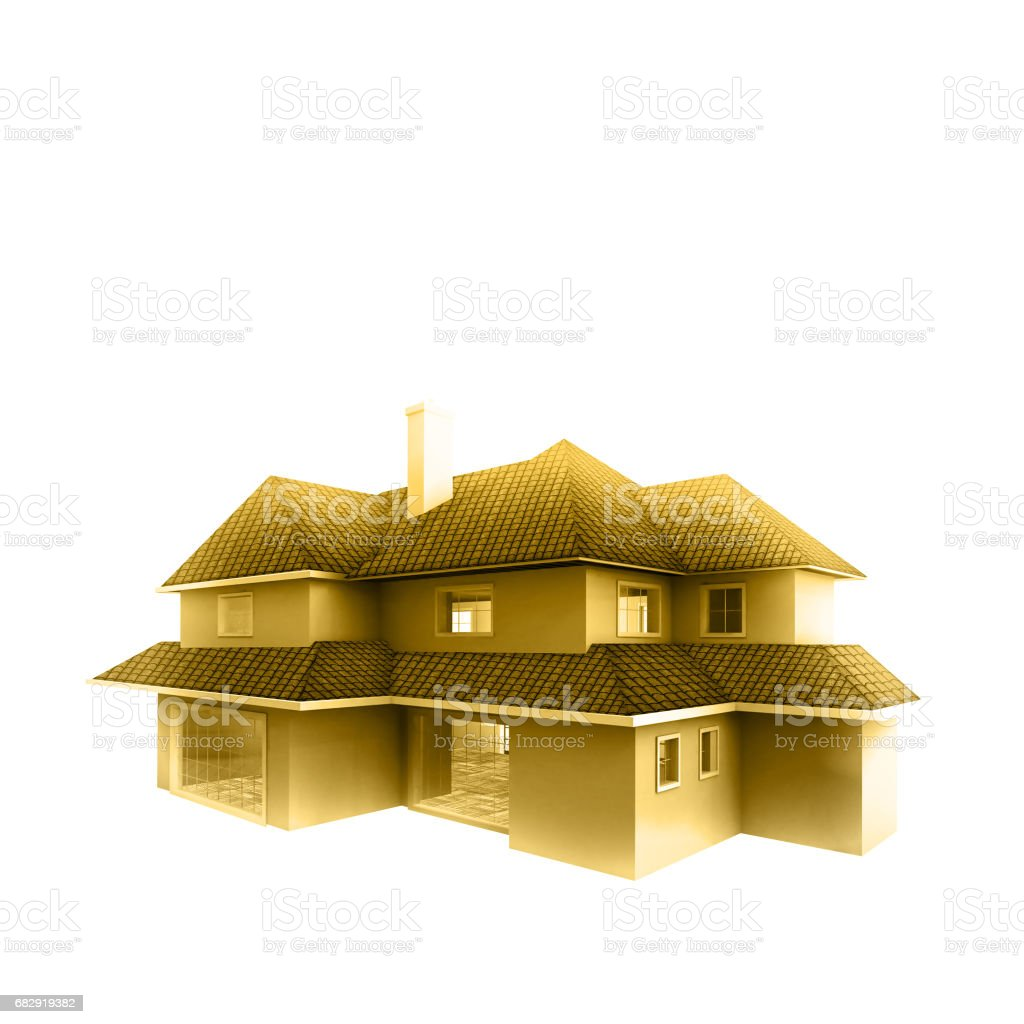 Golden House isolated against the white background. Real estate concept. 3d vector art illustration