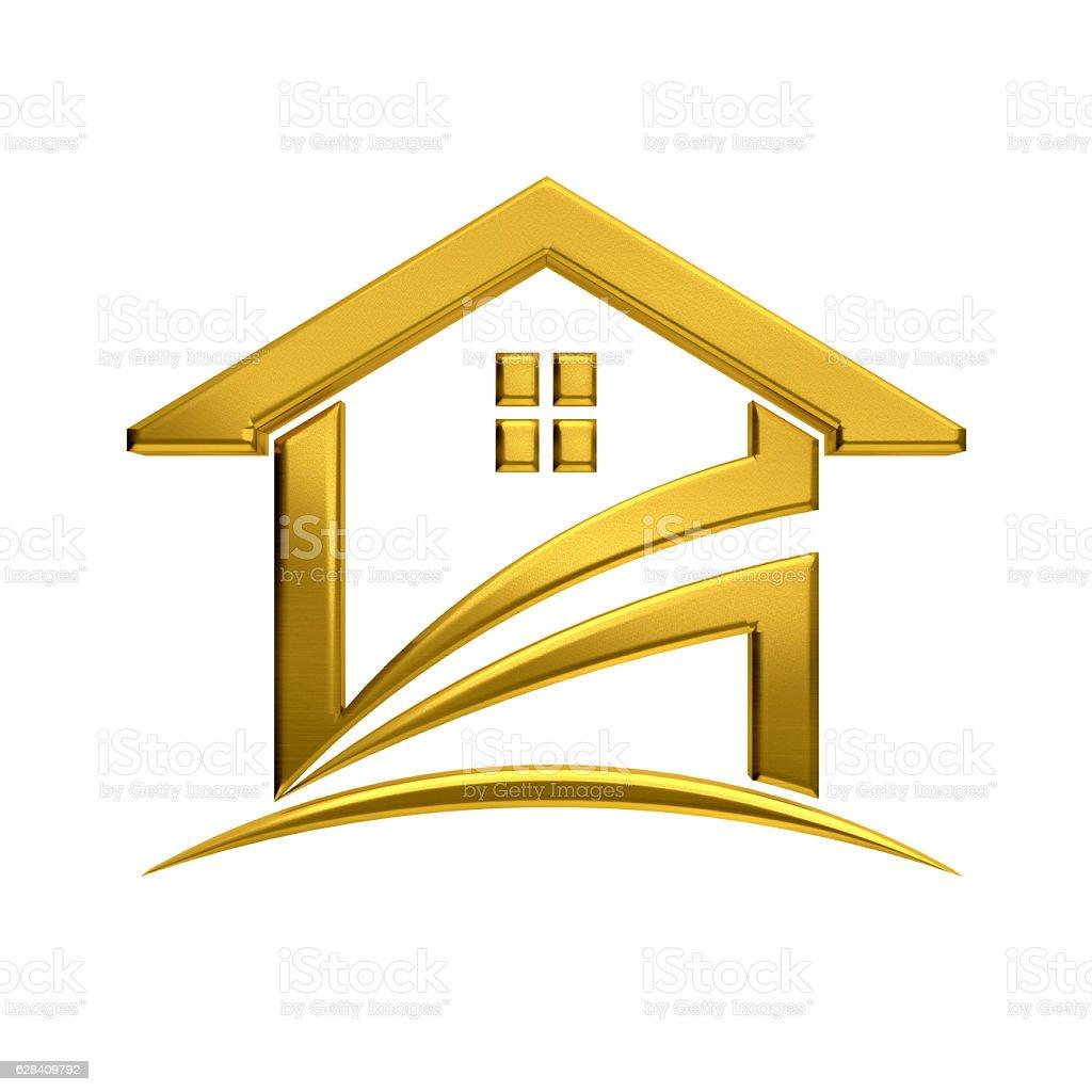 Golden House Real Estate. 3D Render Illustration stock photo