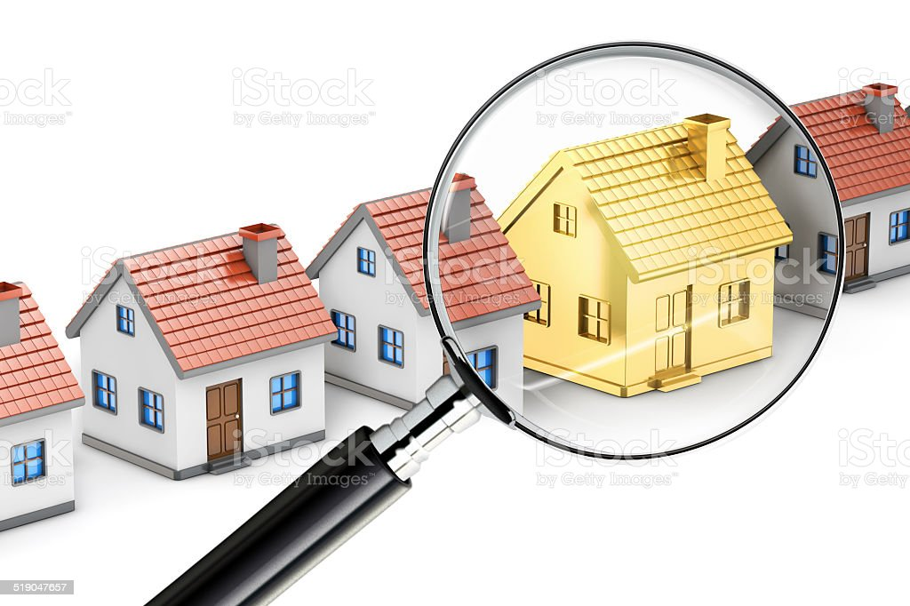 golden house search magnifying glass stock photo