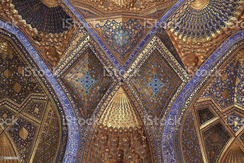 Golden interior of Aksaray mausoleum royalty-free stock photo