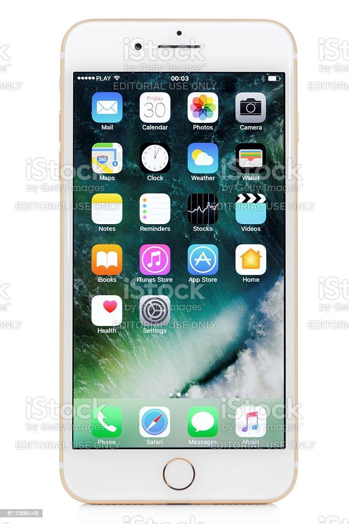Golden iPhone 7 Plus stock photo