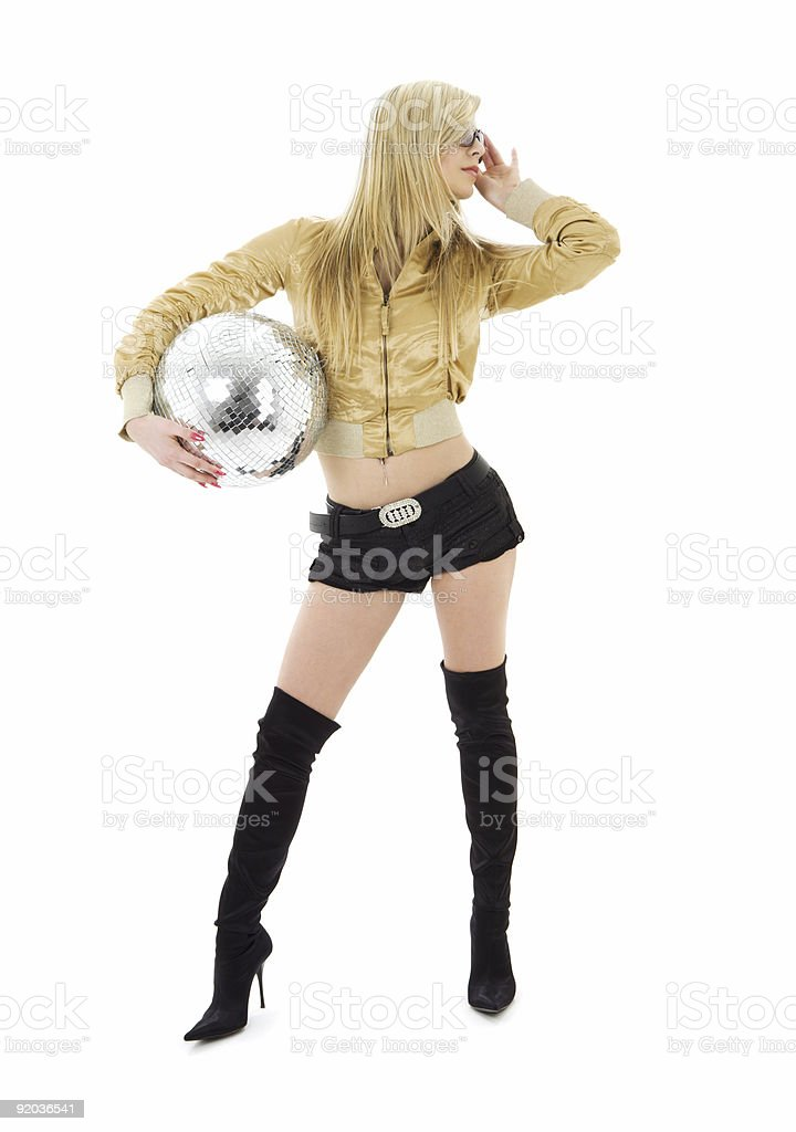 golden jacket girl with disco ball royalty-free stock photo