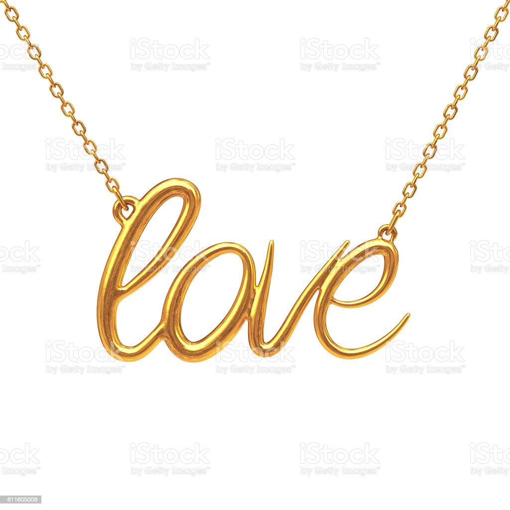 Golden Jewelry Necklace with Love Sign. 3d Rendering stock photo