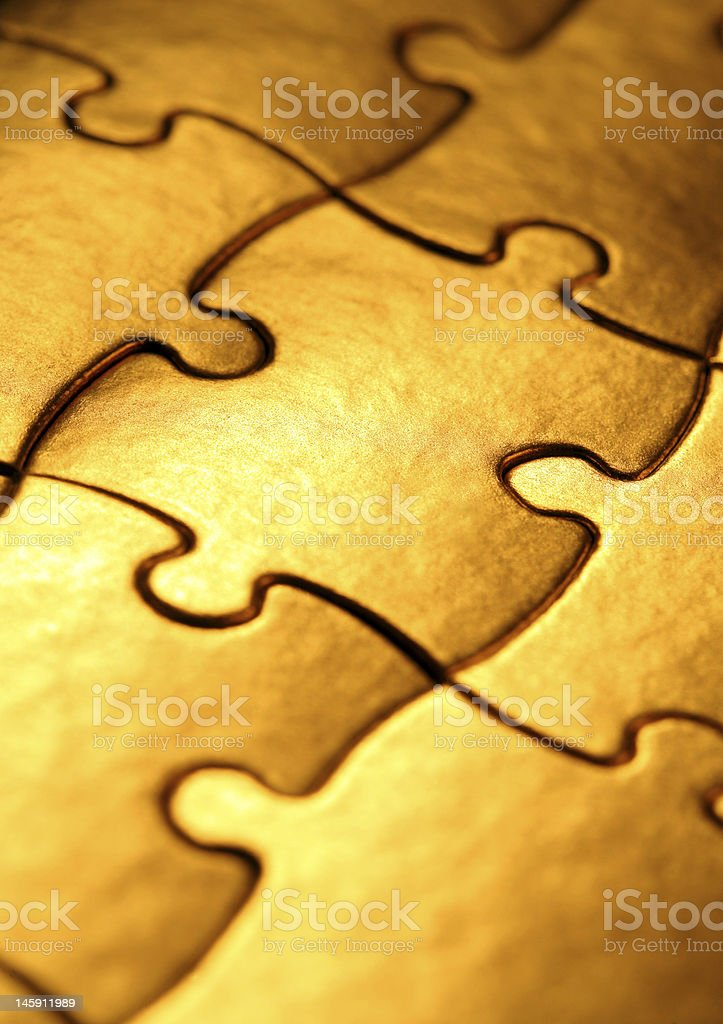 golden jigsaw royalty-free stock photo