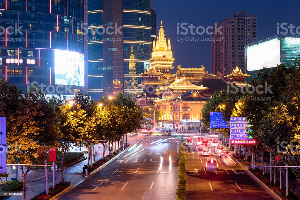 Golden Jing`An Temple, Shanghai China stock photo