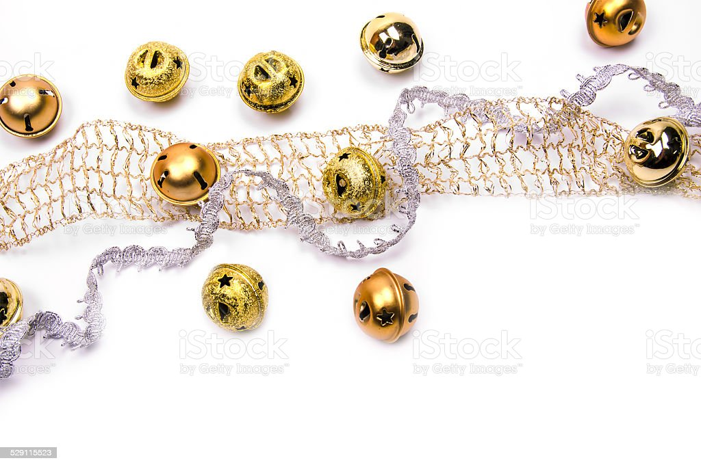 golden jingles and ribbons stock photo