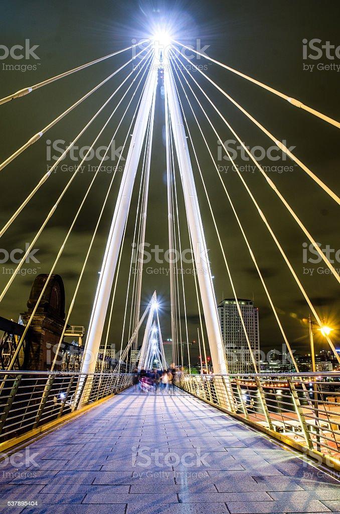 Golden Jubilee Bridge at night stock photo