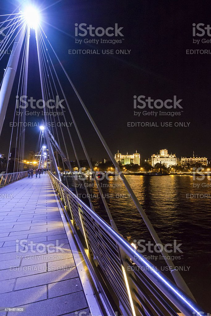 Golden Jubilee bridge in London at night stock photo
