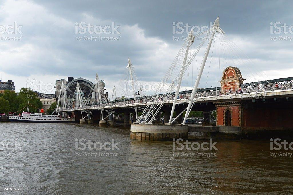 Golden Jubilee Bridges london stock photo
