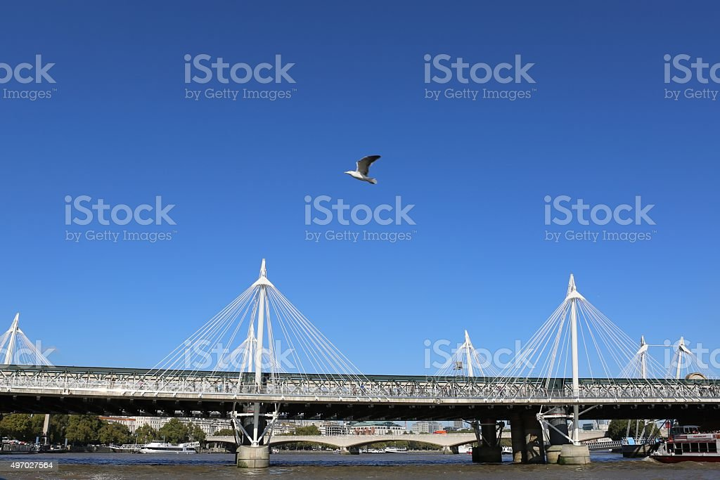 Golden Jubilee Footbridges in London stock photo
