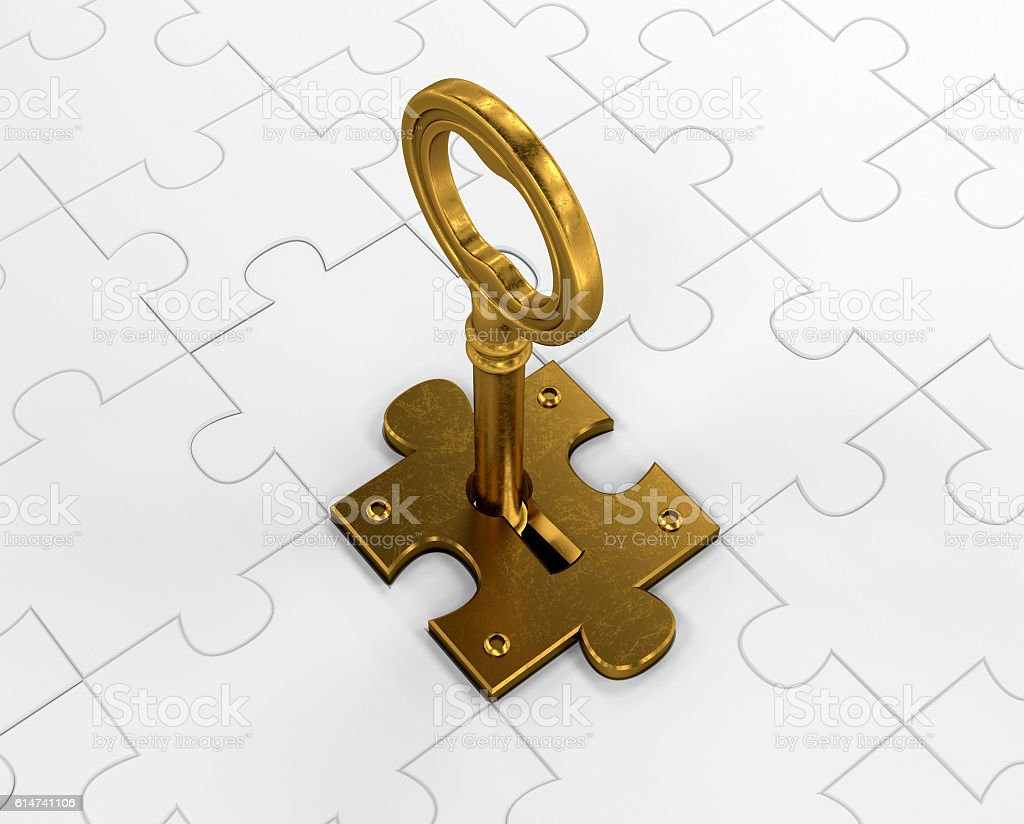 Golden key and puzzle stock photo