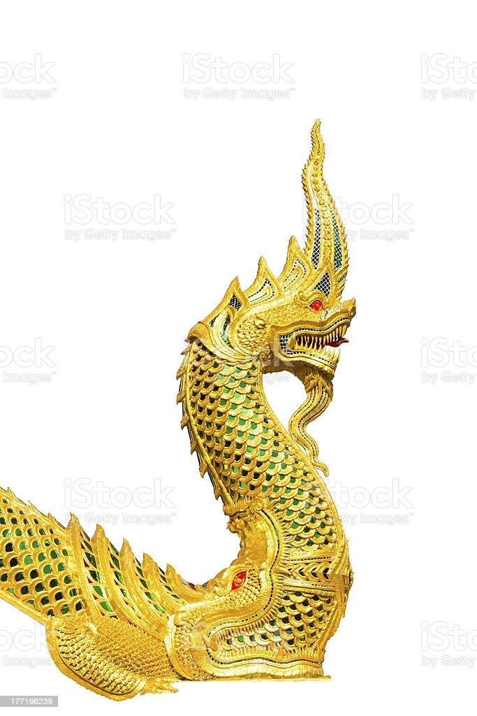 Golden king of Naga royalty-free stock photo