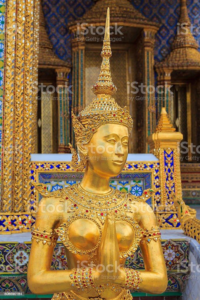 Golden Kinnaree Of Wat Phra Kaew In Bangkok stock photo