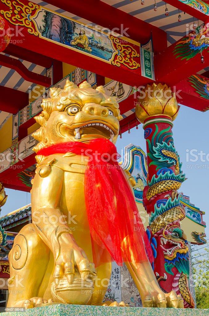 golden kirin sculpture stock photo