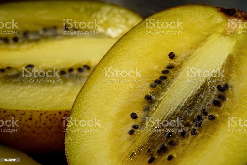 Golden Kiwi Fruit - Macro View stock photo
