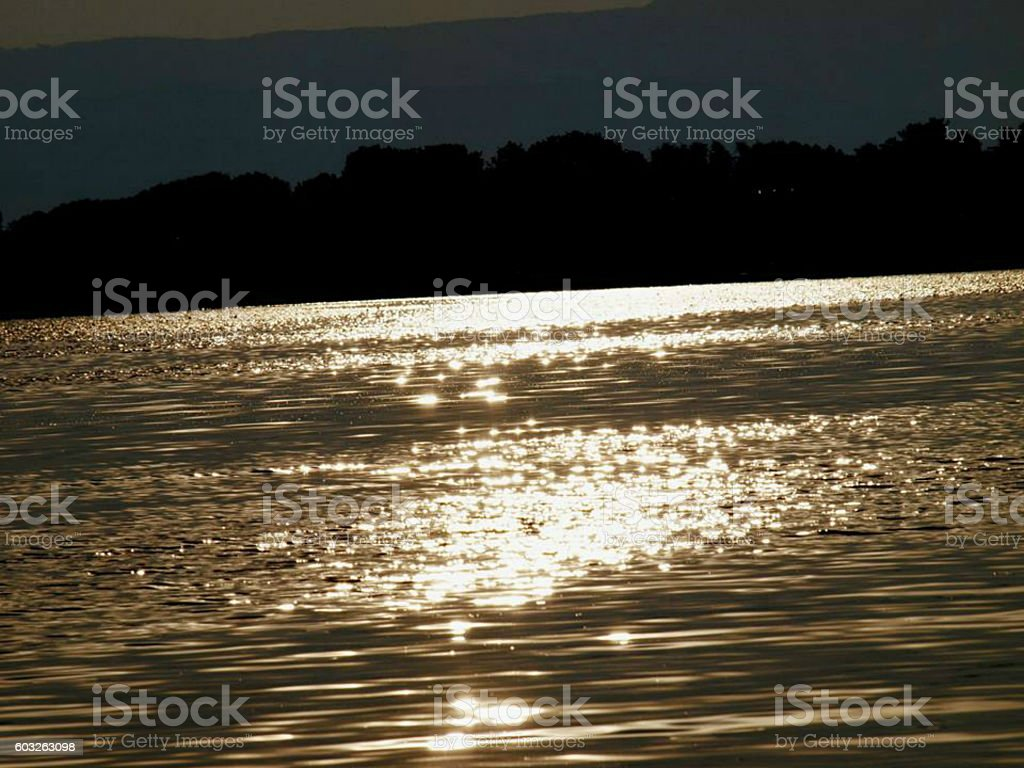 Golden lake in the sunset stock photo