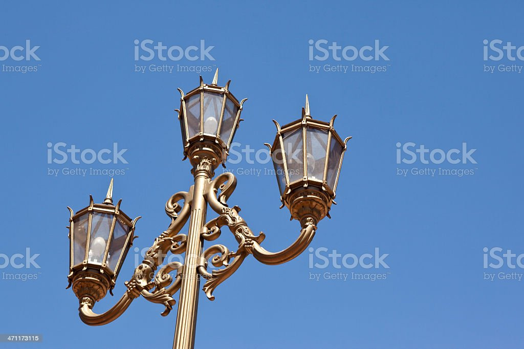 Golden Lamp Post royalty-free stock photo