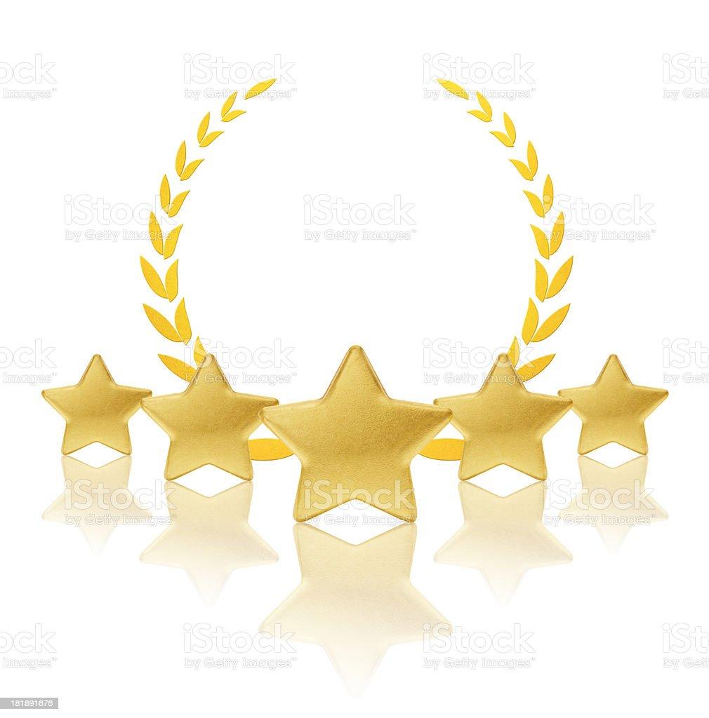 Golden laurel with five stars stock photo