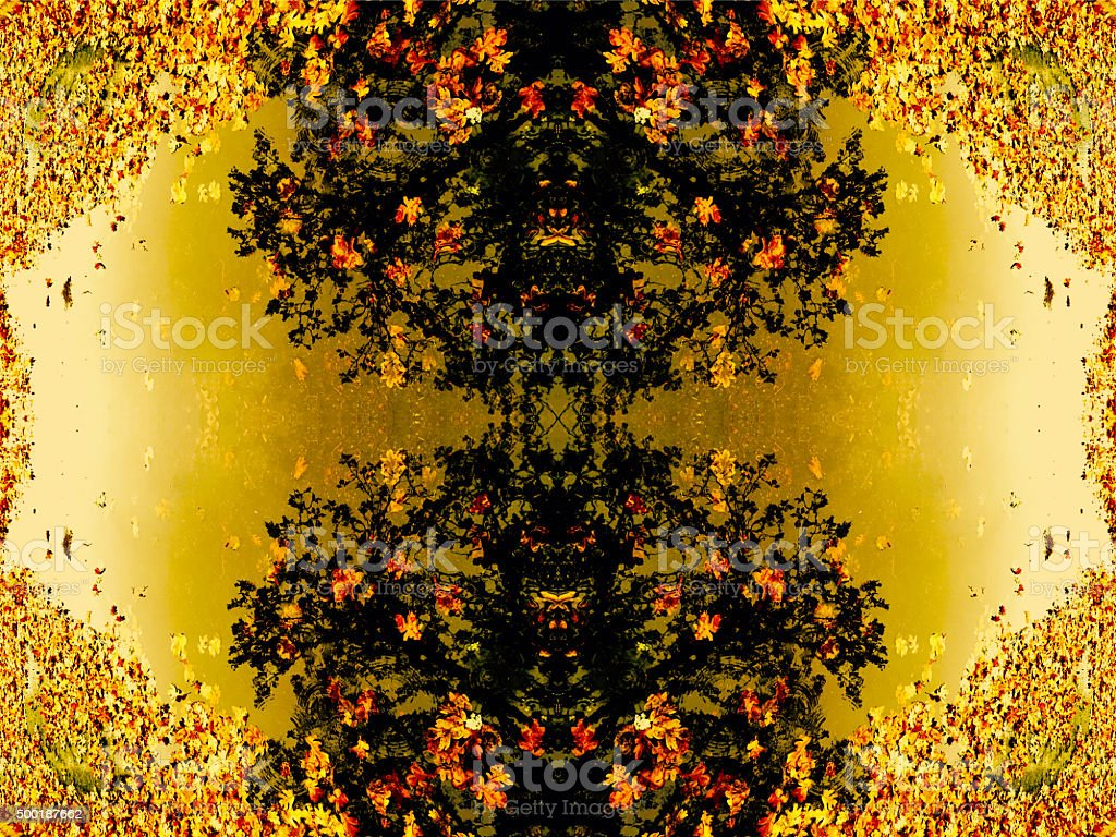 Golden leaves and puddle abstract background royalty-free stock photo