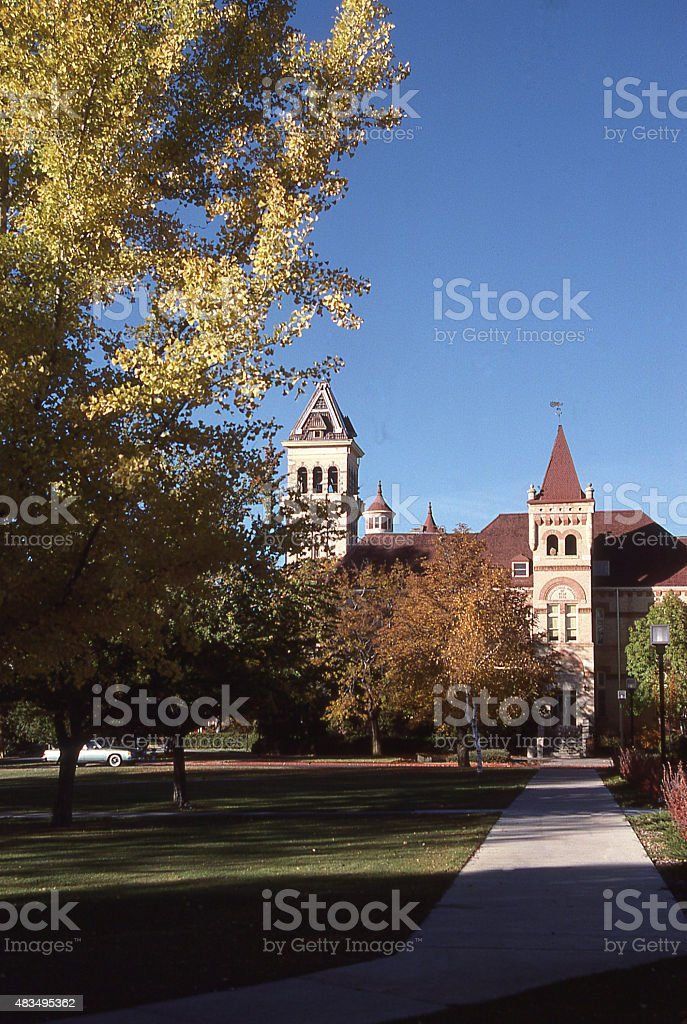 Golden Leaves autumn Old Main Historic Academic Building Logan Utah stock photo