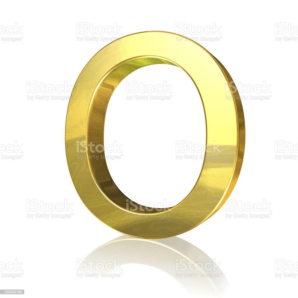 Golden letter O stock photo