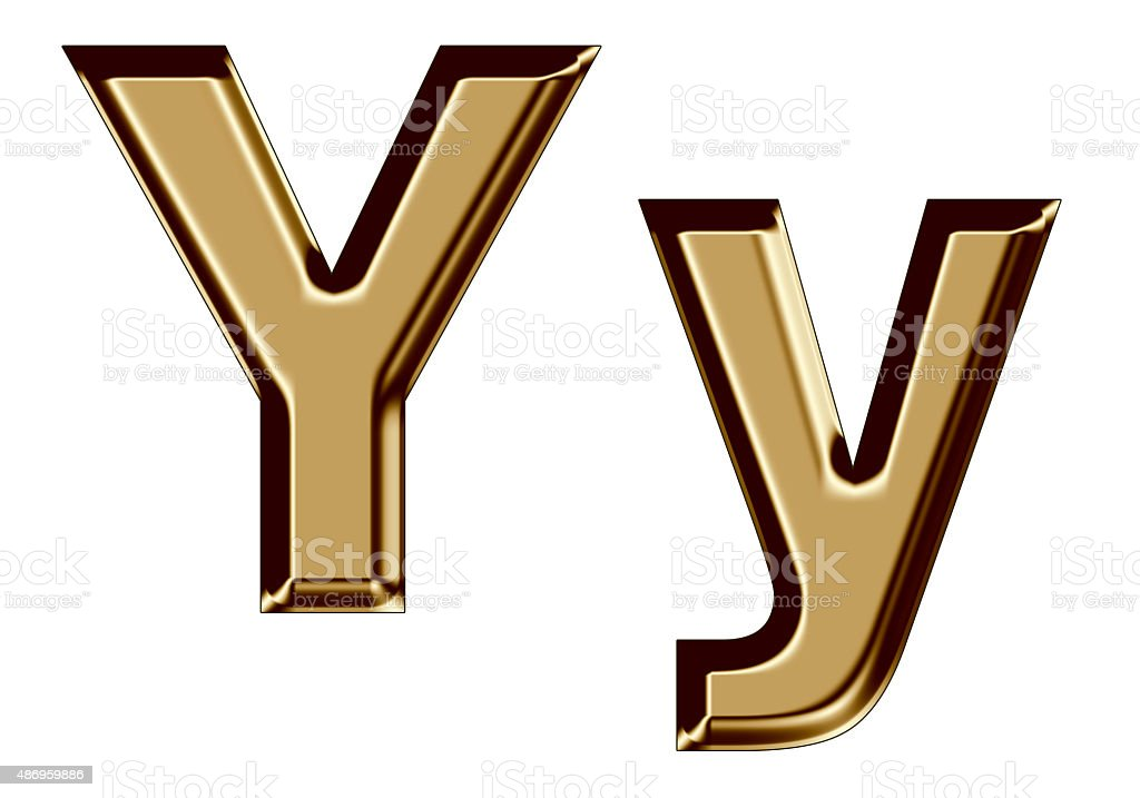 Golden letter Y,y on white background stock photo