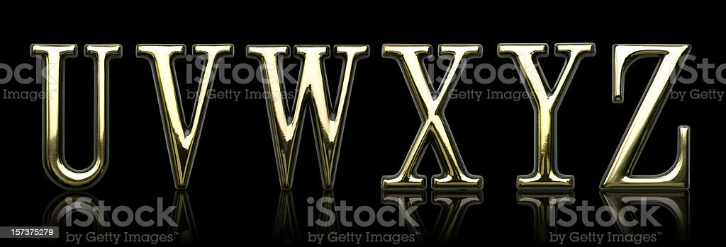 Golden Letters - U V W X Y Z royalty-free stock photo