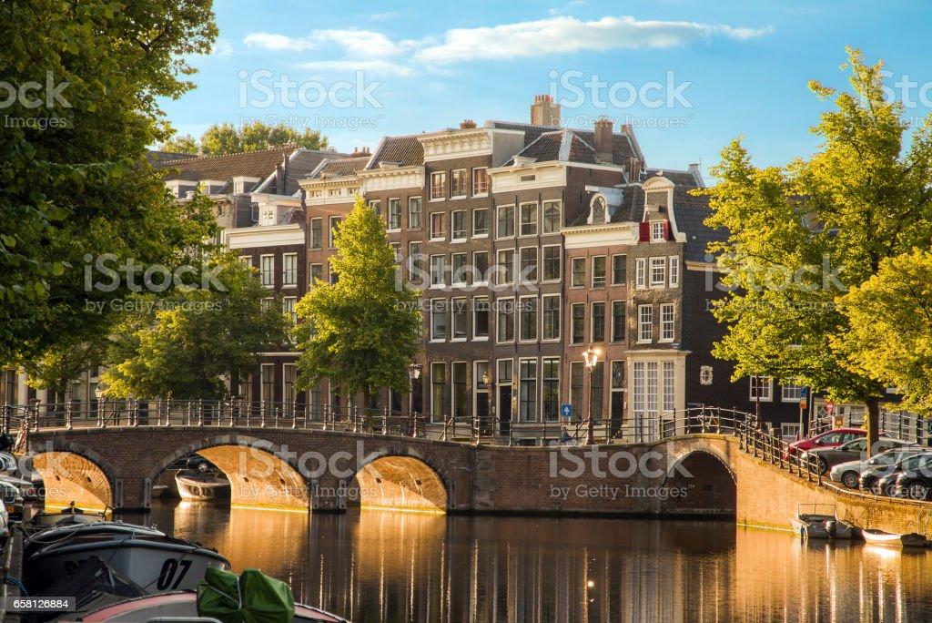 Golden light canals stock photo