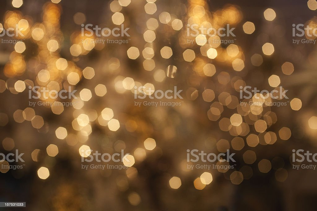 Golden lights defocused stock photo