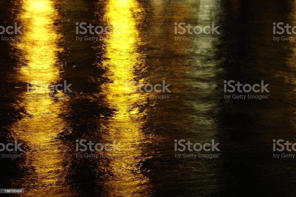Golden lights on water royalty-free stock photo