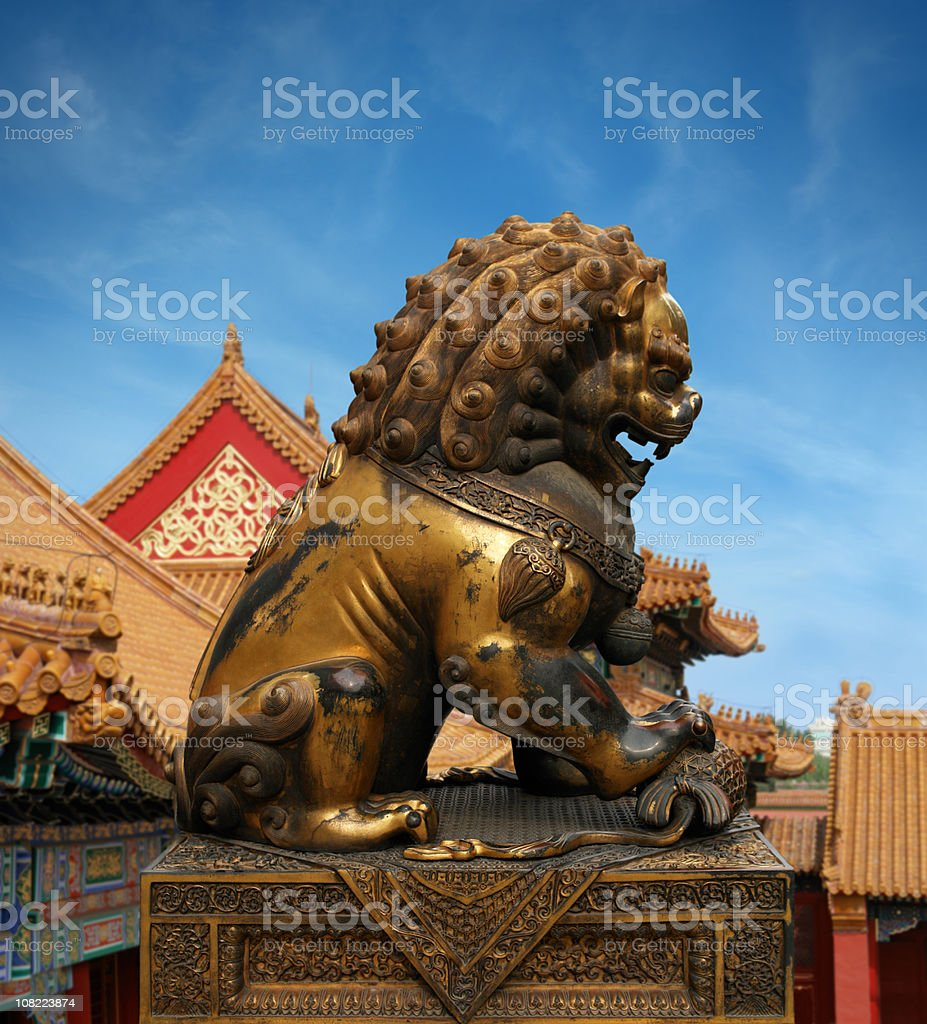 Golden Lion Sculpture in the Forbidden City royalty-free stock photo