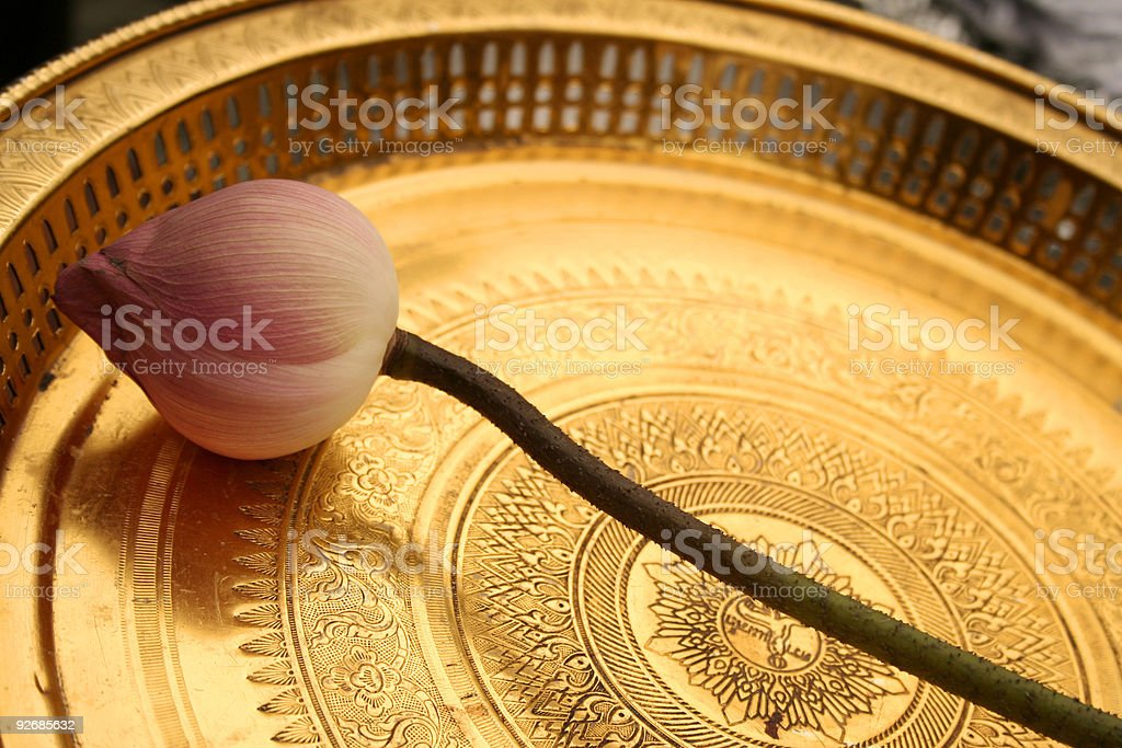 golden lotus offering temple thailand royalty-free stock photo