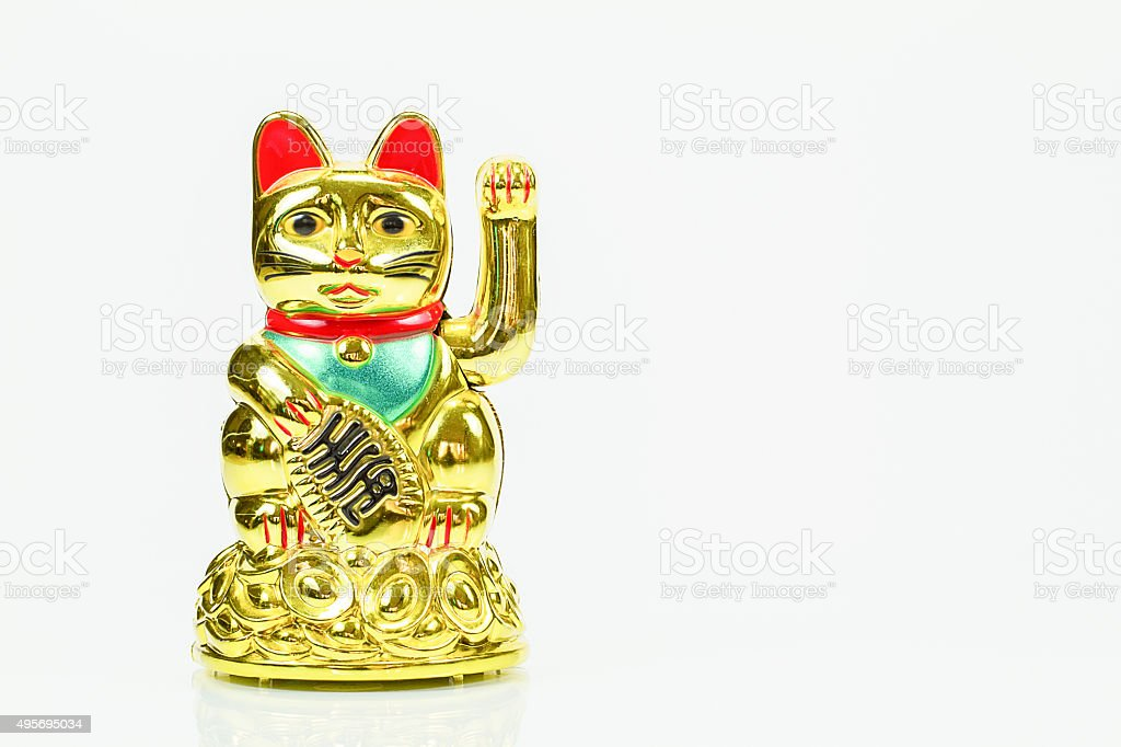 Golden lucky cat on white background stock photo