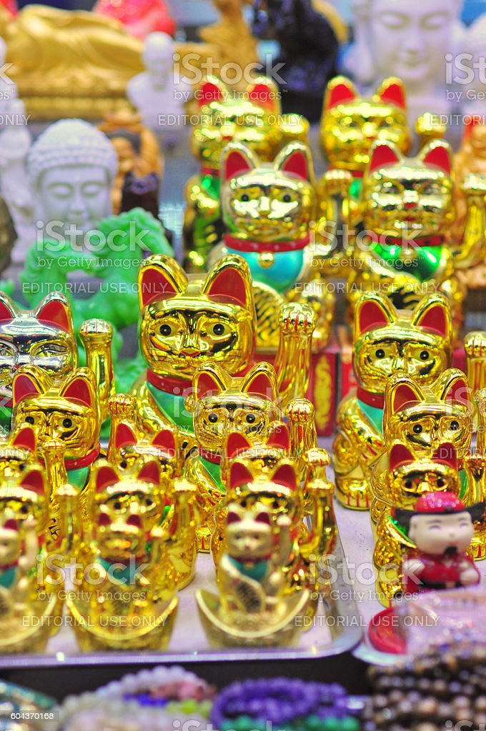 Golden lucky cats are for sale stock photo