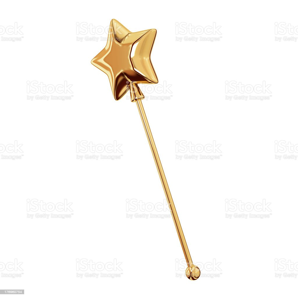 Golden magic wand isolated on a white background royalty-free stock photo