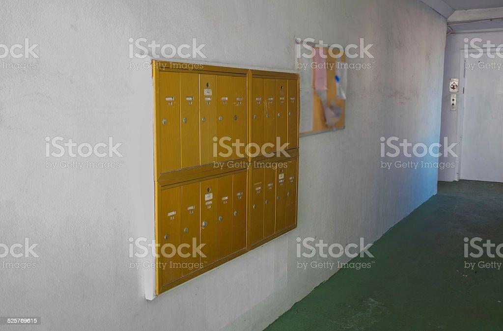 Golden Mailboxes stock photo