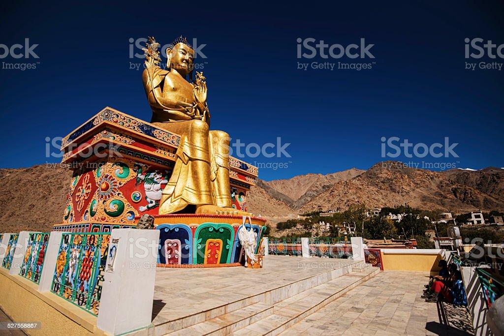 Golden Maitreya Buddha statue in Likir Monastery stock photo