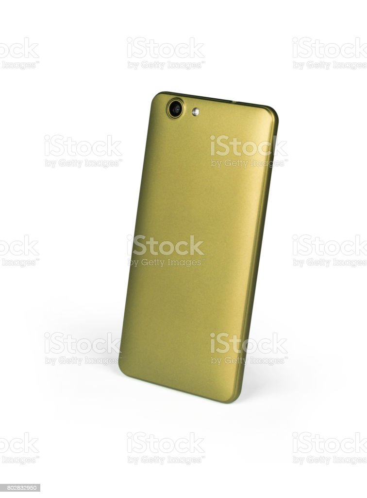 Golden mat mobile smart phone standing on white background viewed from back side. Isolated with clipping path stock photo